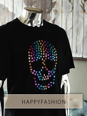 Totenkopf aus vielen kleinen Sternen in Regenbogenfarben aus HappyFashion Bügelfolie
