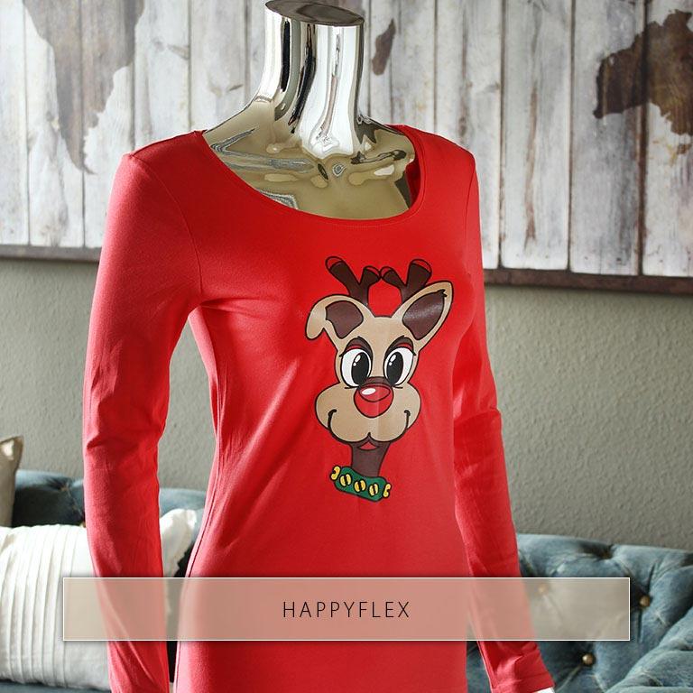 Rentierkopf aus buntem HappyFlex auf rotes Shirt gedruckt