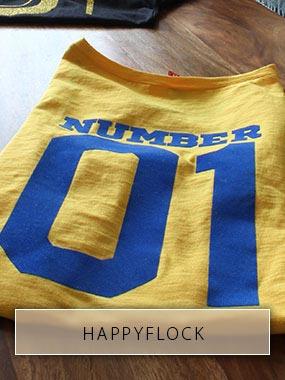 Die Rückennummer 01 aus blauer Flockfolie auf gelbes T-Shirt gedruckt